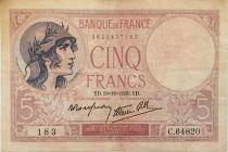 France 5 Francs - 19-10-1939 Serial C.64820  - VF