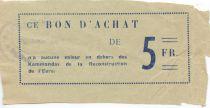 France 5 Francs - Bon des Kommandos de la Reconstruction de l\'Eure - TB