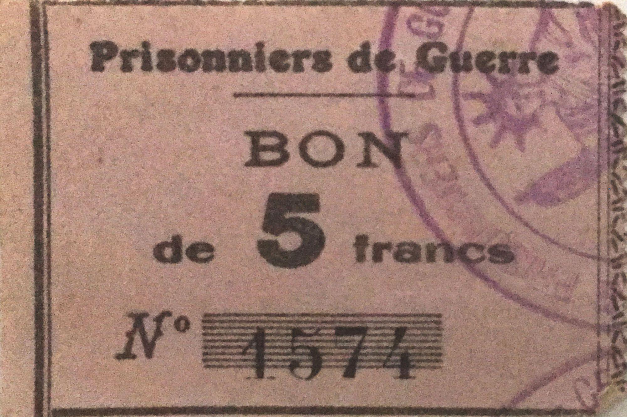 France 5 Francs - Bon des Prisonniers de Guerre - PTTB