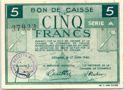 Banknote france 5 francs colmar chambre de commerce s rie a for Chambre de commerce japonaise en france