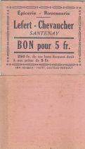 France 5 Francs - Lefert - Chevaucher - 1914-1918 - Santenay