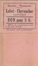 France 5 Francs - Lefert - Chevaucher - 1914-1918 - Santenay