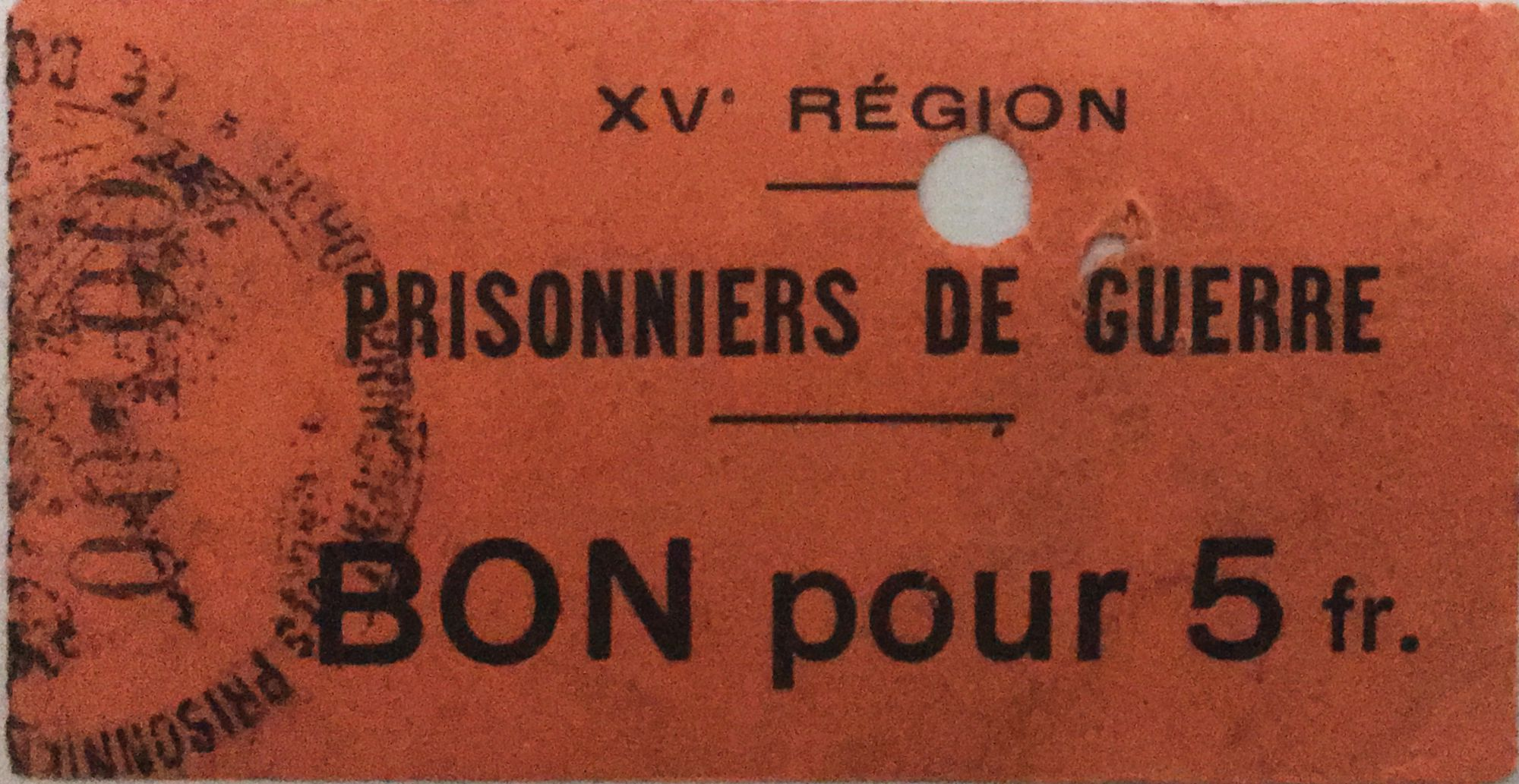 France 5 Francs - WWI Prisoners Coupon - 15th Region (Castres) - F to VF