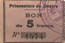 France 5 Francs - WWI Prisoners Coupon - F to VF