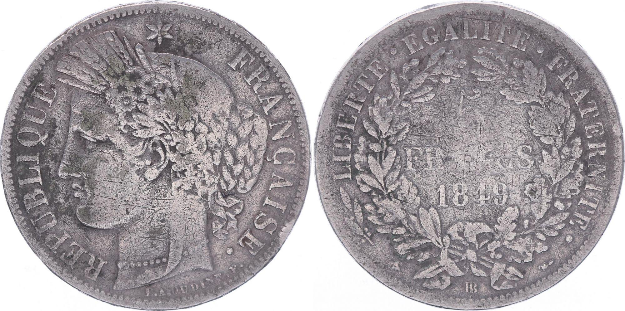 France 5 Francs, Ceres - 2nd Republic - 1849 BB Strasbourg - Fine