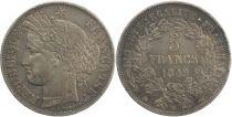 France 5 Francs, Céres  II e République -1849 BB Strasbourg
