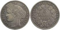 France 5 Francs, Céres  II e République -1850 BB Strasbourg