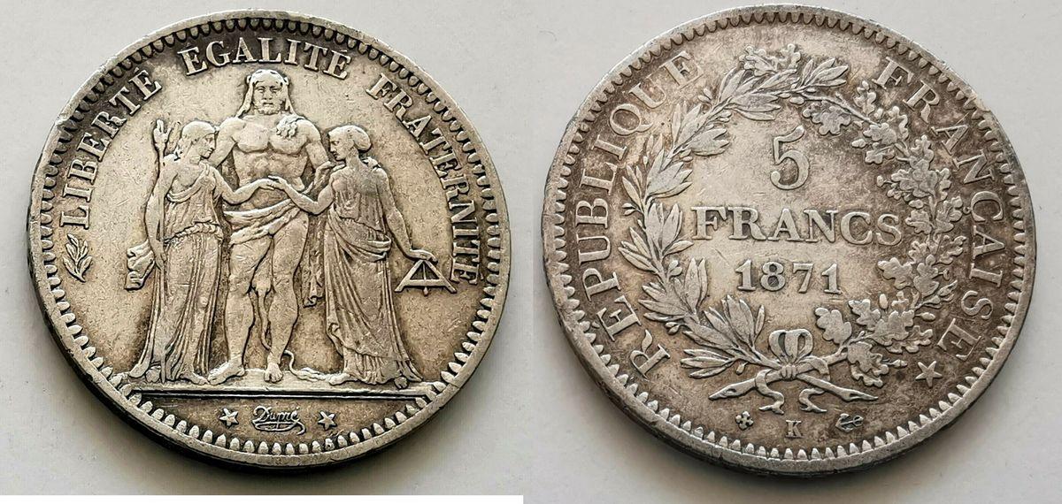 France 5 Francs  Hercule - 1871 K Bordeaux - Argent