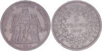 France 5 Francs, Hercule - IIe République -1849 BB Strasbourg - TB+