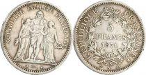 France 5 Francs  Hercules - 1871 A Paris - Type Camélinat - Silver