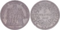 France 5 Francs, Hercules - 2nd Republic -1849 BB Strasbourg - F+