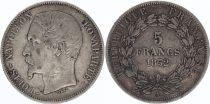 France 5 Francs, Louis-Napoléon Bonaparte - 1852 A Paris - Tête Large - Argent