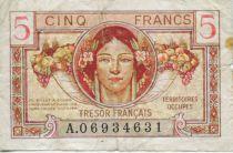 France 5 Francs  Trésor Français - Territoires occupés 1947 - TB