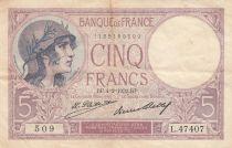 France 5 Francs 04-02-1932 Serial L.47407- VF