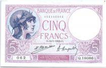 France 5 Francs 1924 - Série Q18086 062 - Violet