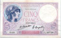 France 5 Francs 1925 - Serial L23728 - Lilac