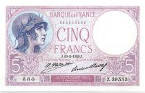 France 5 Francs 1929 - Série Z.39553 - Violet