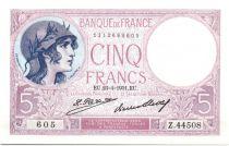 France 5 Francs 1931 - Série Z.44508 - Violet