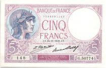 France 5 Francs 1932 - Série G.50774 - Violet
