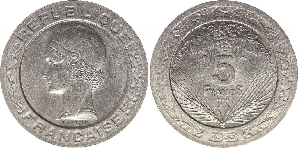 France 5 Francs 1933 - Essai de Vézien, nickel