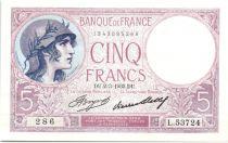 France 5 Francs 1933 - Série L.53724 - Violet