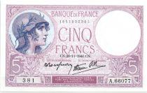 France 5 Francs 1940 - Série A.66077 - Violet