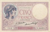 France 5 Francs 23-04-1931 Serial A.44462 - XF