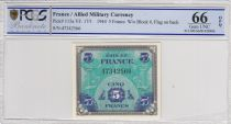 France 5 Francs Allied Military Currency - Flag - 1944 - PCGS 66 OPQ