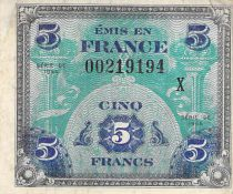 France 5 Francs Allied Military Currency - Flag - 1944 X Serial - F