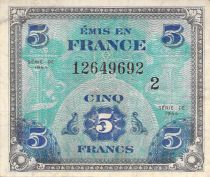 France 5 Francs Allied Military Currency (Flag) - 1944 Serial 2 - VF