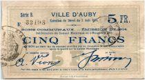 France 5 Francs Auby Ville - 1914
