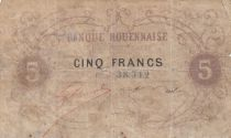 France 5 Francs Banque Rouennaise ND (1870) - Scarce note