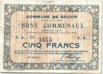 France 5 Francs Bauvin City - 1915