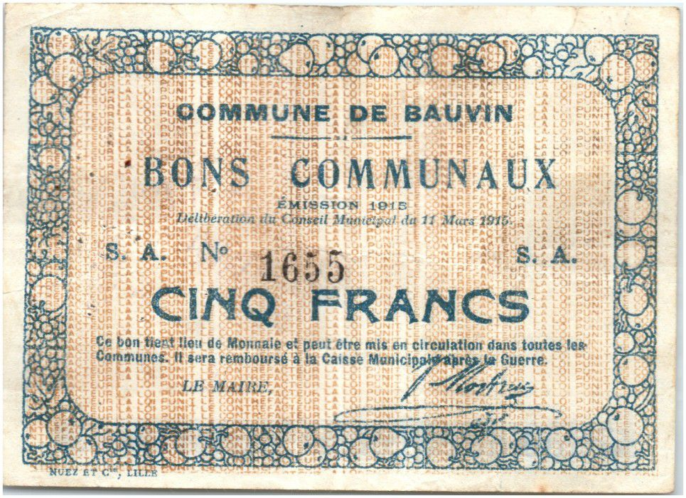 France 5 Francs Bauvin Commune - 1915