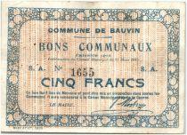 France 5 Francs Bauvin Commune - 1915
