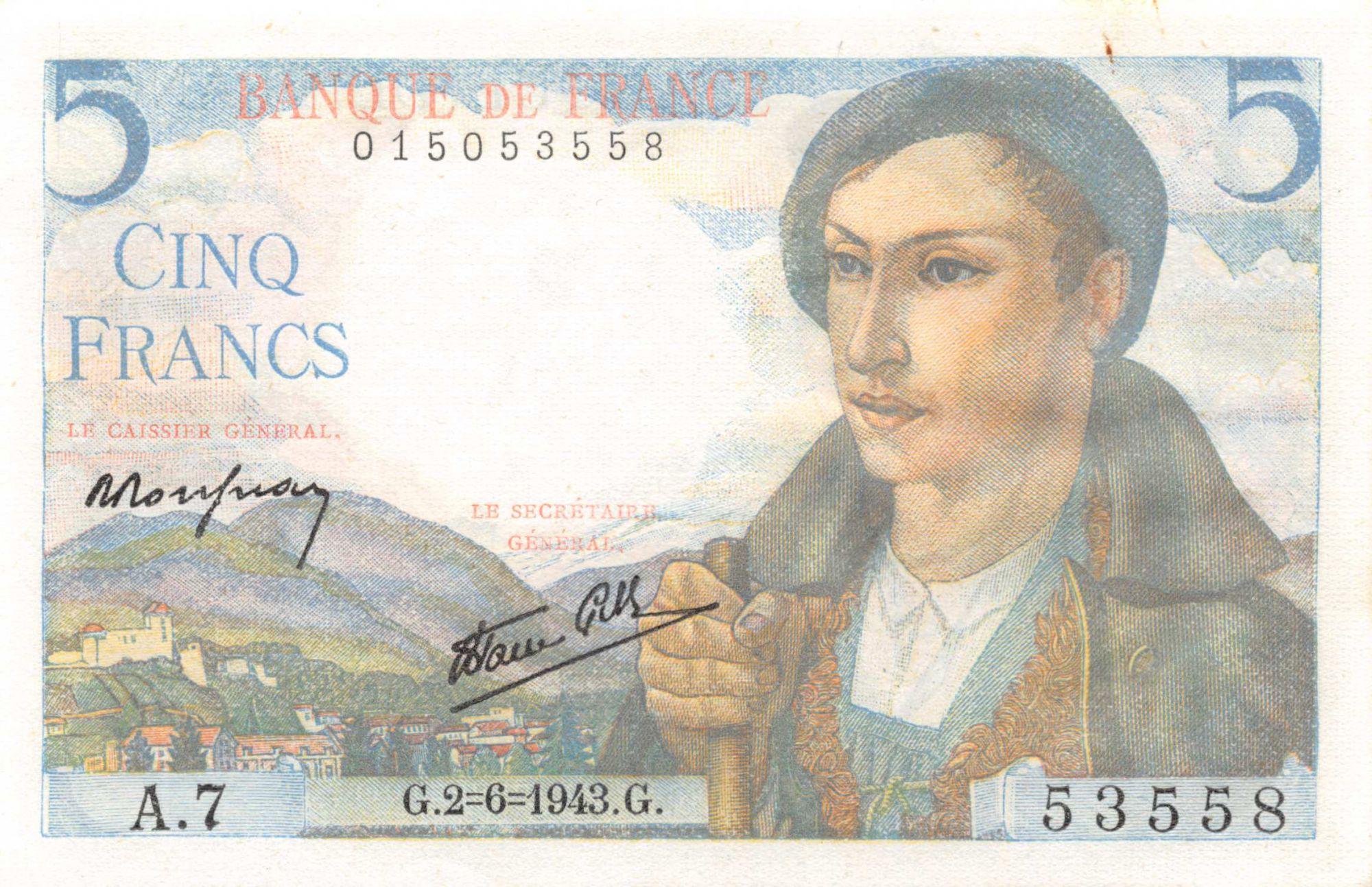 France 5 Francs Berger - 02-06-1943 Série A.7 - P.NEUF