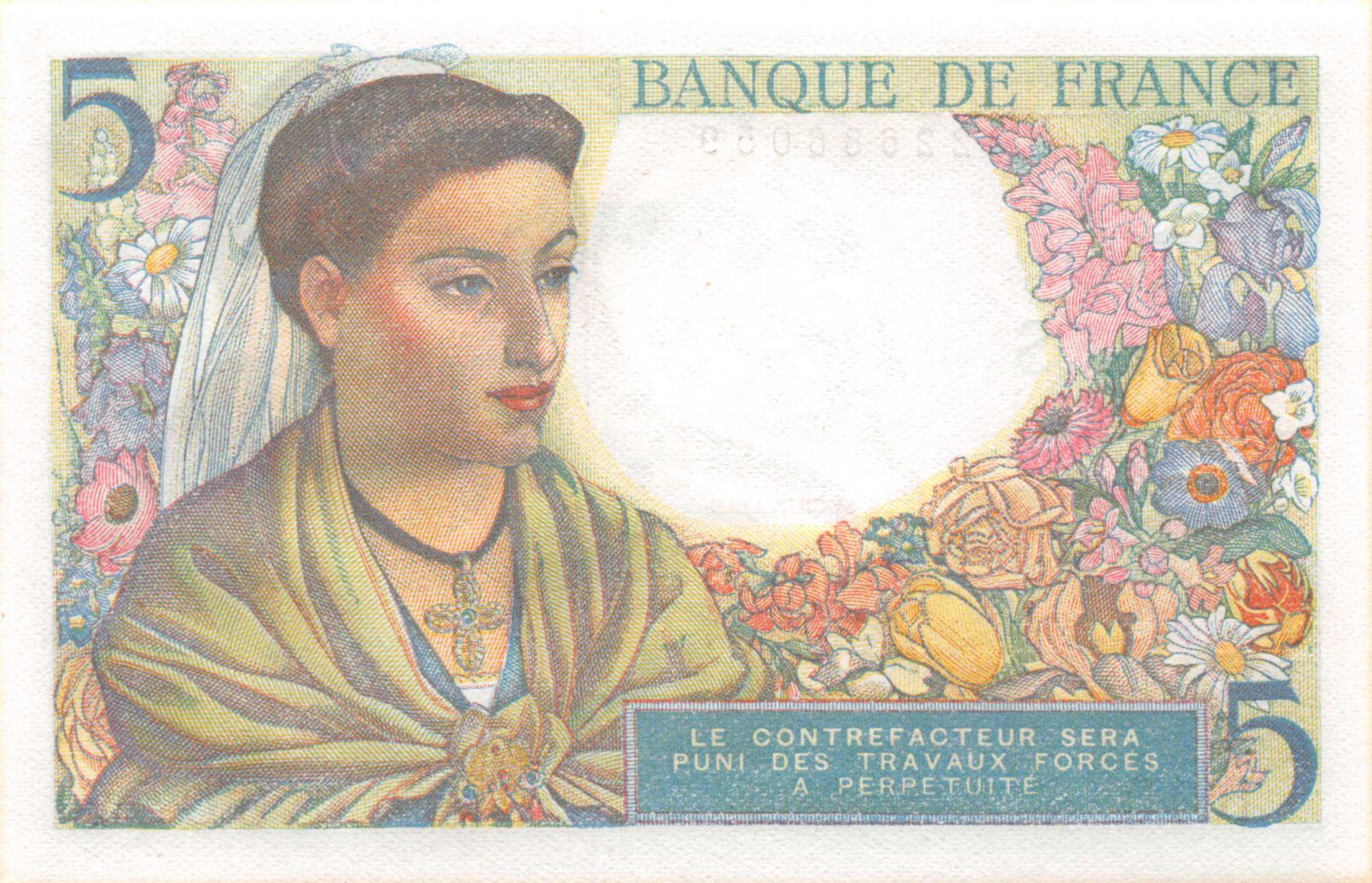 France 5 Francs Berger - 02-06-1943 Série B.10 - NEUF