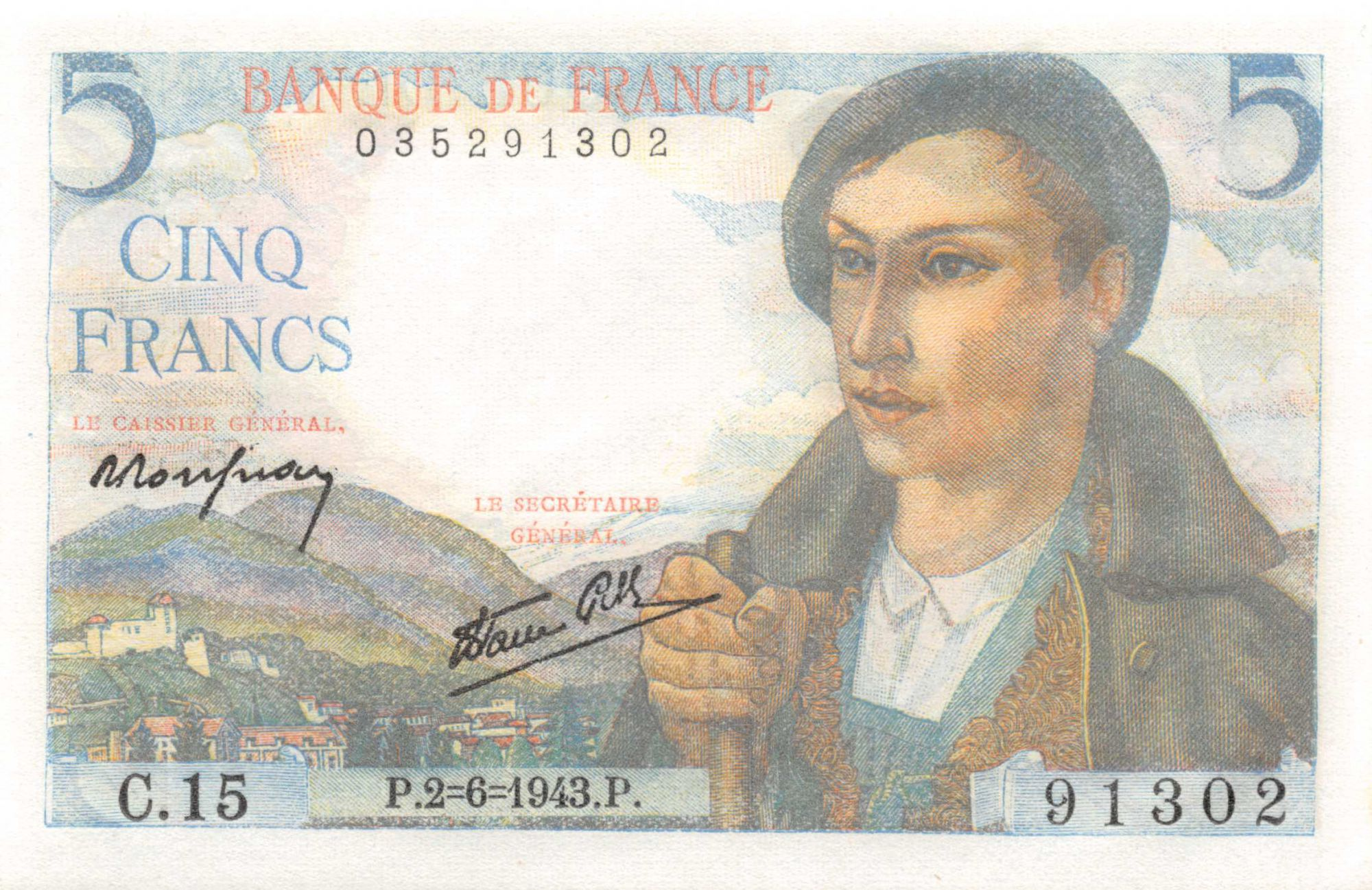 France 5 Francs Berger - 02-06-1943 Série C.15 - NEUF