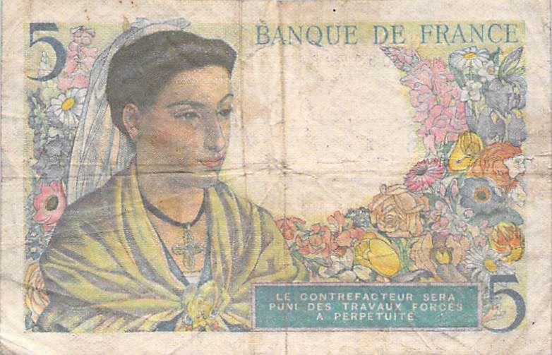 France 5 Francs Berger - 02-06-1943 Série K.3 - TB
