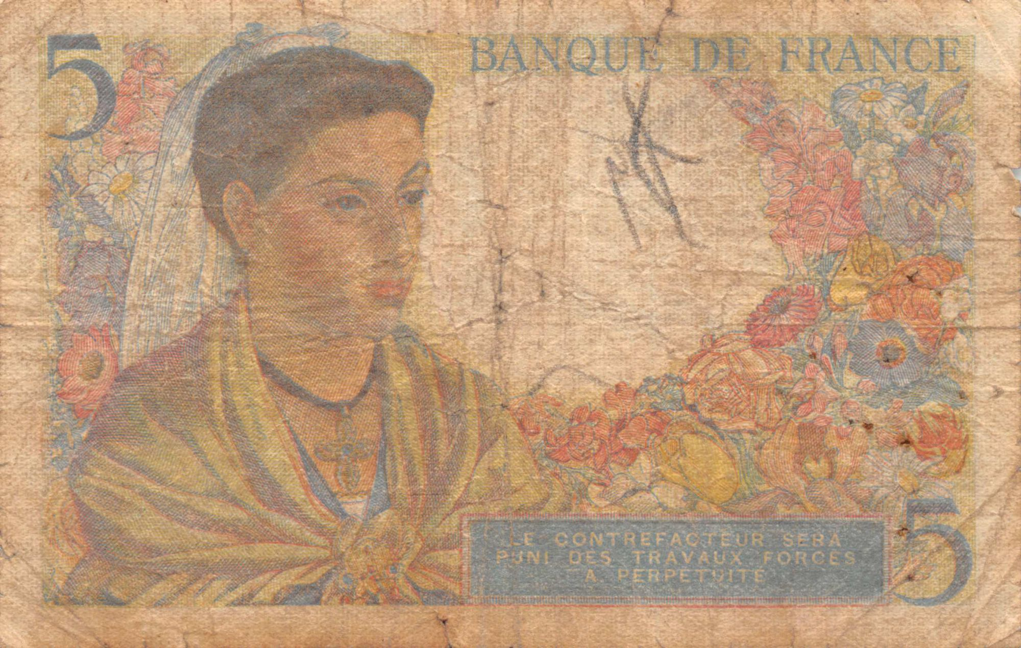France 5 Francs Berger - 02-06-1943 Série S.24 - B+