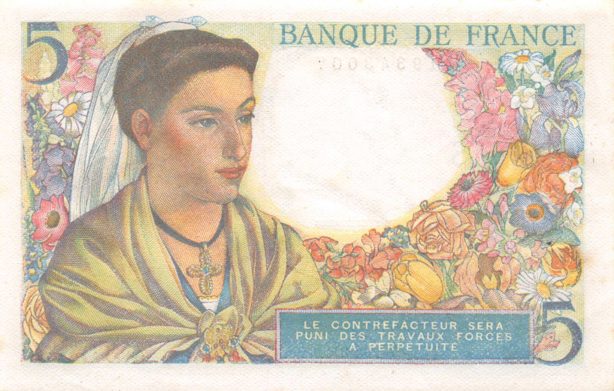 France 5 Francs Berger - 02-06-1943 Série T.8 - SUP