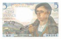 France 5 Francs Berger - 02-06-1943 Série W.8 - SPL
