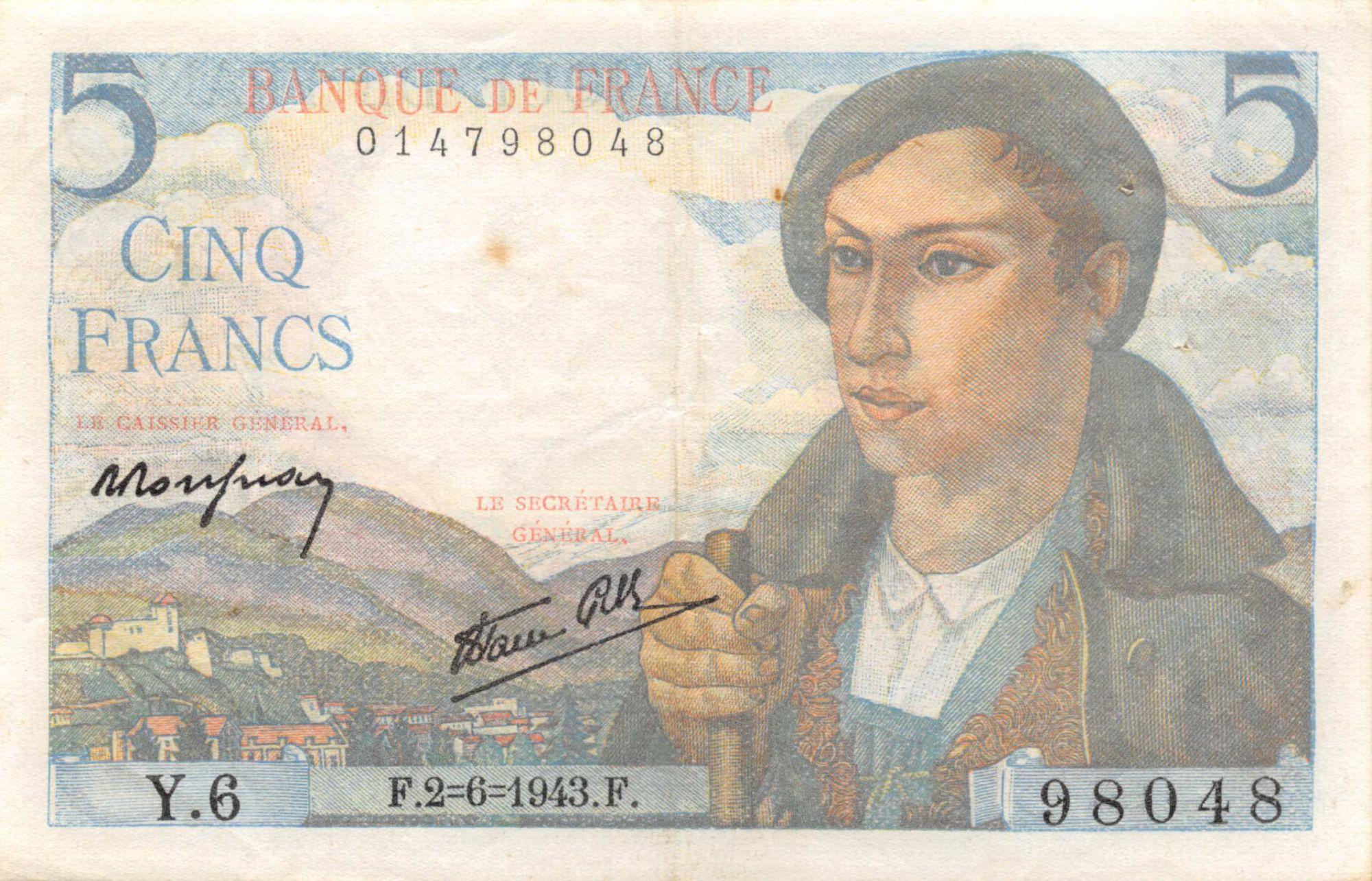 France 5 Francs Berger - 02-06-1943 Série Y.6 - TTB