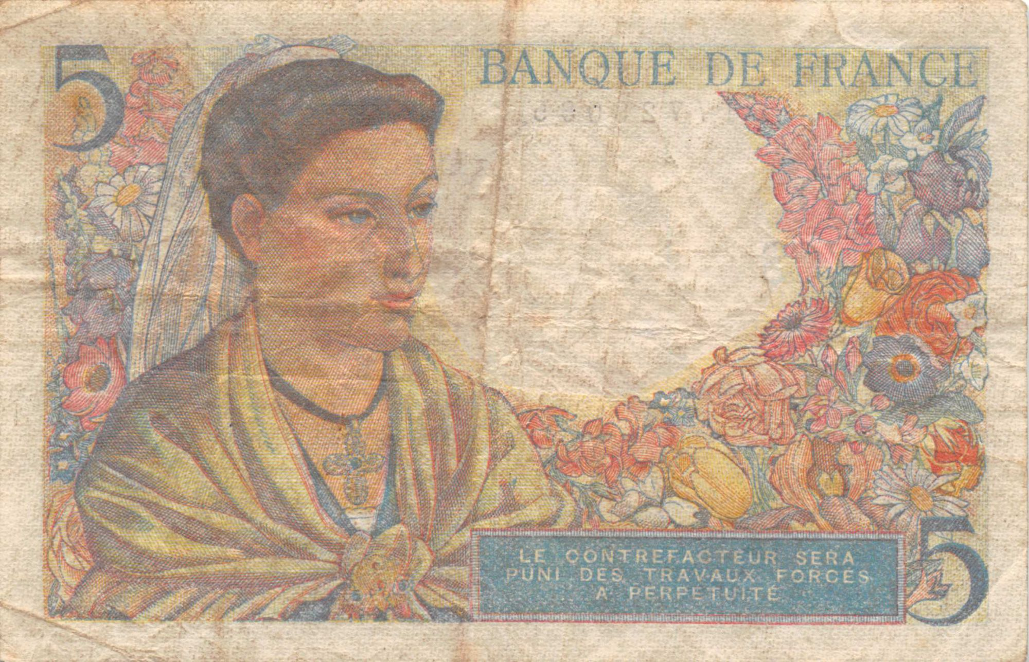 France 5 Francs Berger - 05-04-1945 Série C.128 - TB
