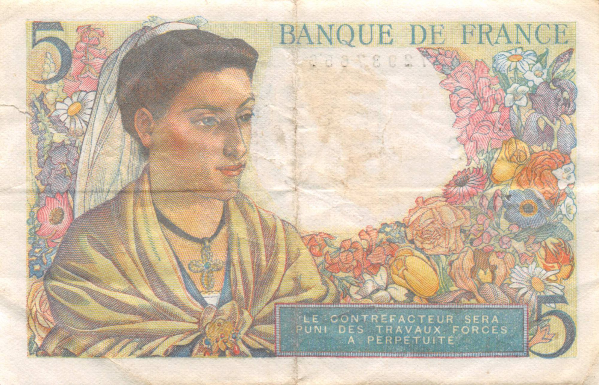 France 5 Francs Berger - 05-04-1945 Série E.150 - TB+