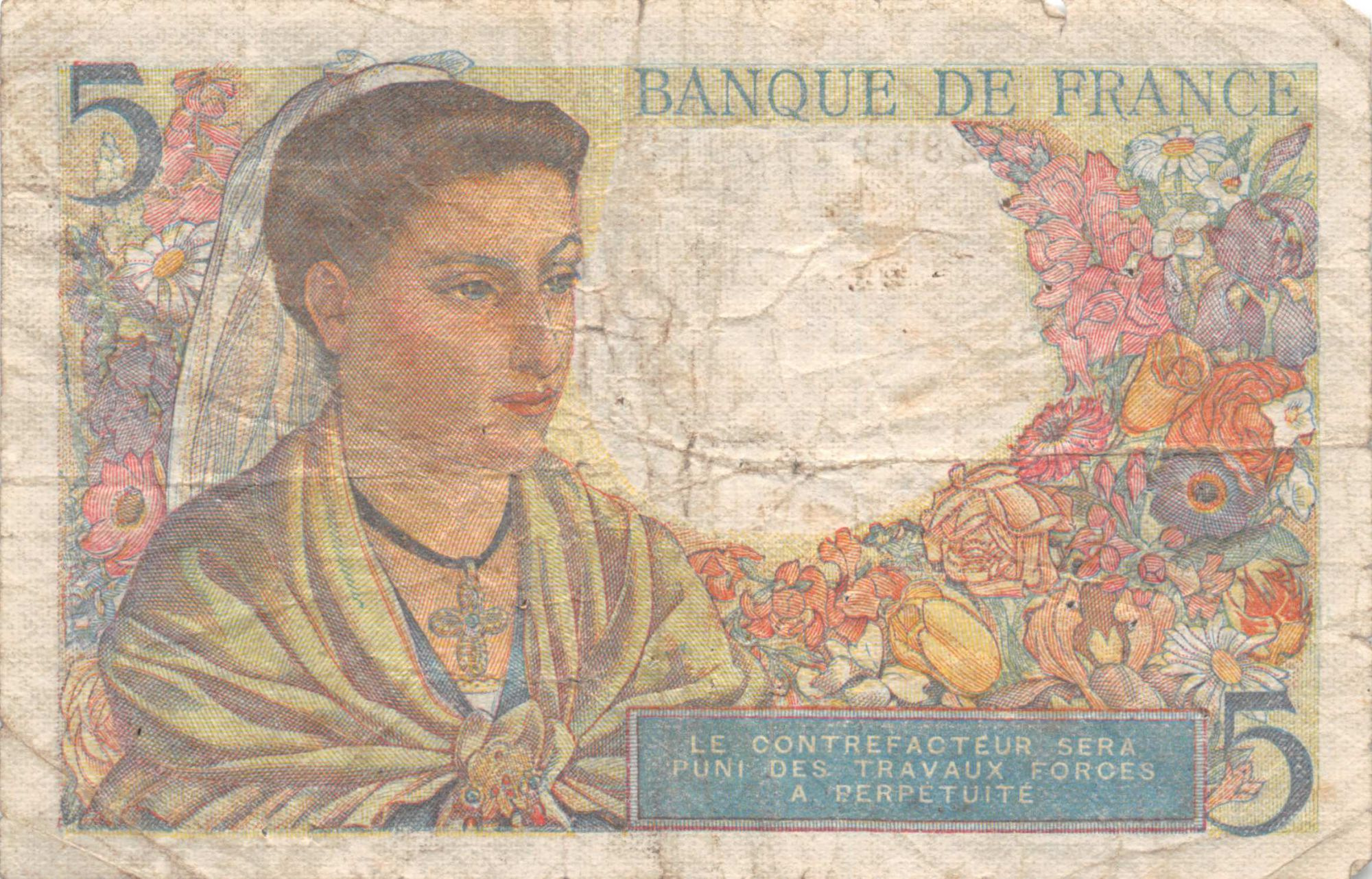 France 5 Francs Berger - 05-04-1945 Série G.132 - PTB