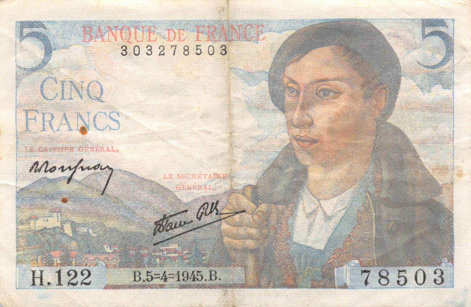 France 5 Francs Berger - 05-04-1945 Série H.122 - TB+