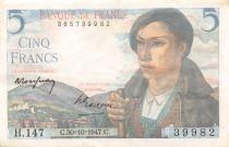 France 5 Francs Berger - 05-04-1945 Série H.147 - TTB
