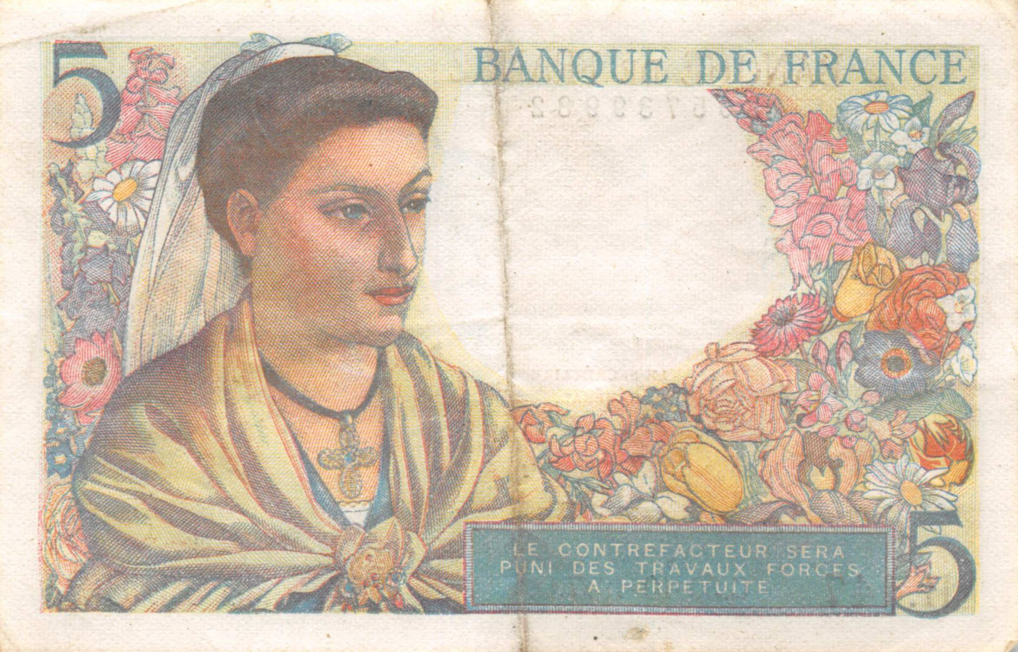 France 5 Francs Berger - 05-04-1945 Série H.147 - TTB