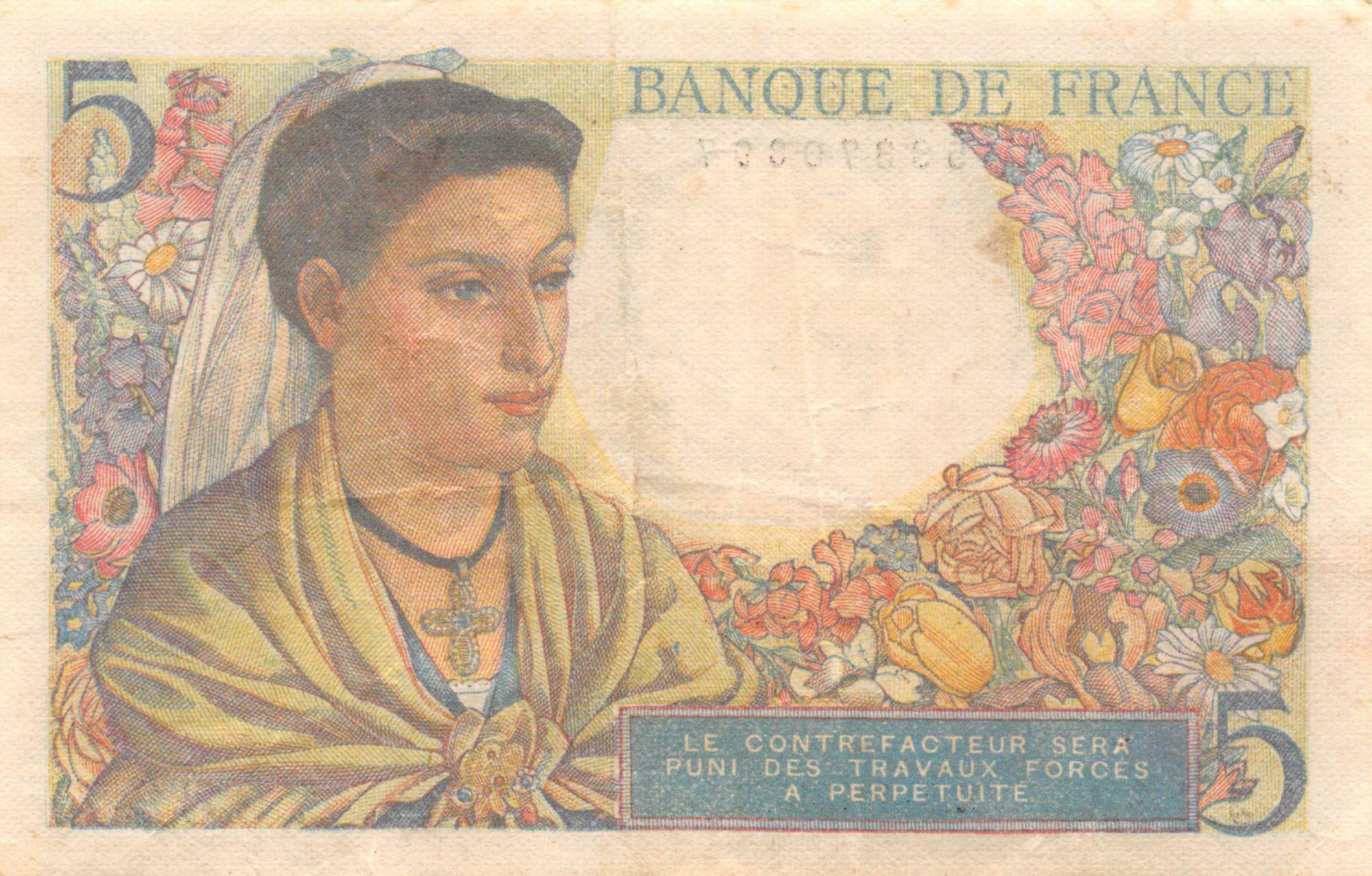 France 5 Francs Berger - 05-04-1945 Série J.142 - TB+